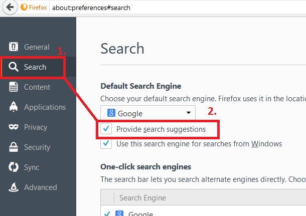 search suggestion