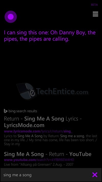Cortana Singing Song