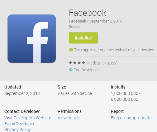 Facebook App- The first Non-Google Android app to hit billion milestone