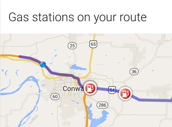 Google Map now includes gas stations on route on Google Now