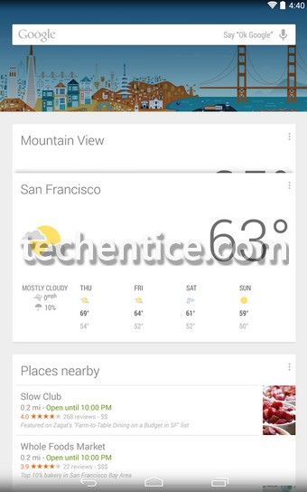 Google Now Launcher for Android KitKat