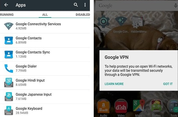 Google VPN in Android 5-1