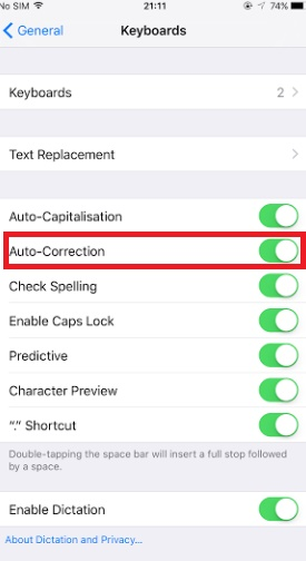 How to Turn Off Keybooard Word Auto-Correction in iPhone