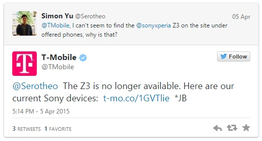 T-Mobile removes support from Sony Xperia Z3