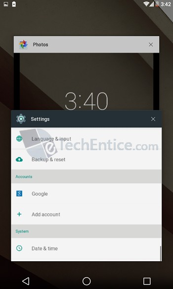 Android L Settings Window