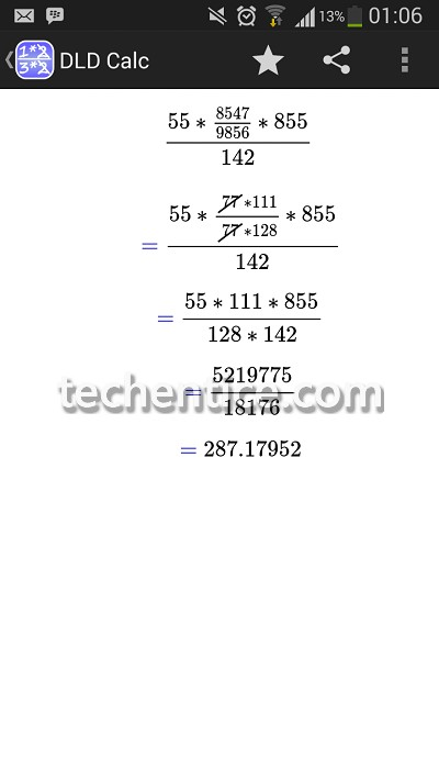 DLD CALC - efficient way to get numerical fractions displaying steps of calculation