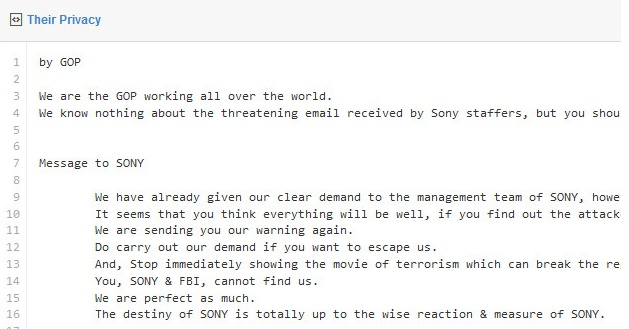 Sony hackers warn the company to halt release of movie