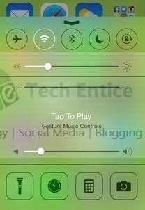 Gesture Control iOS Control Centre