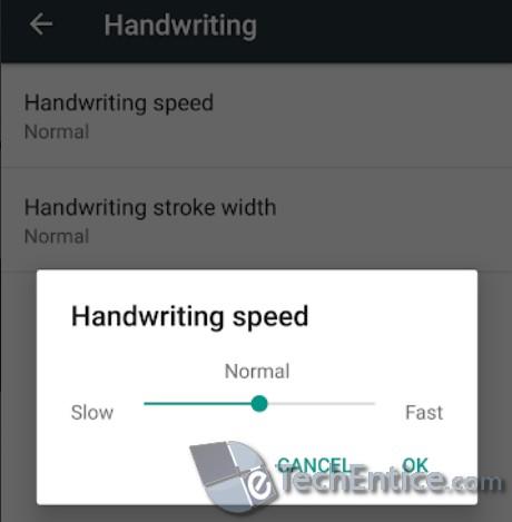 Increase Or Decrease the Handwriting Speed