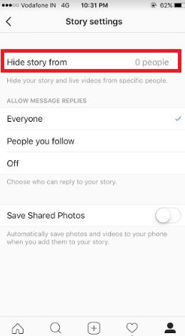 block insta story