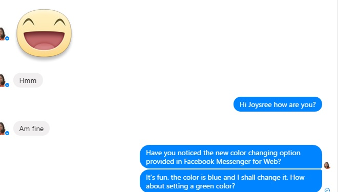 change chat colors and the emoji in facebook messenger for web