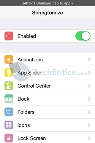 Springtomize iOS Settings