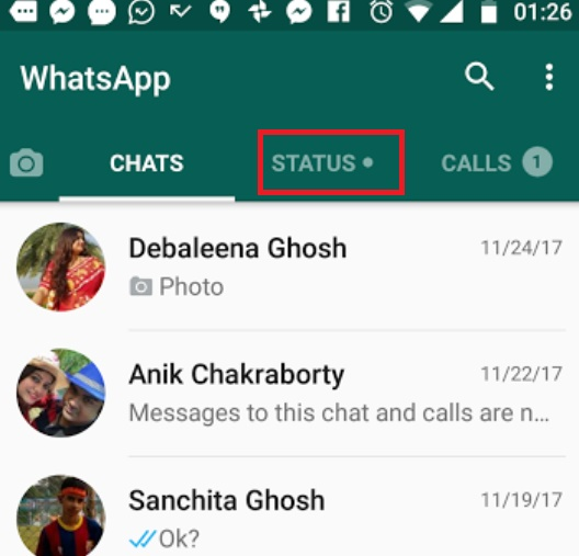 text status on WhatsApp