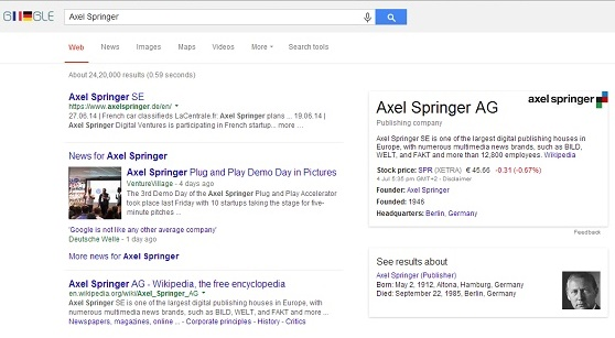 Google accused by CEO of Axel Springer for downgrading rival search results
