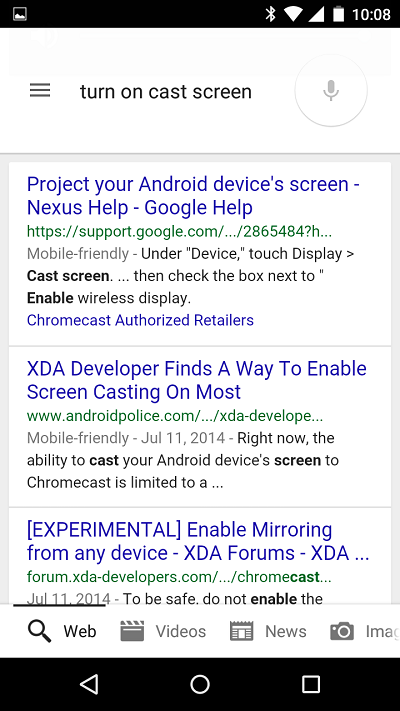 Cast Screen in Google Now