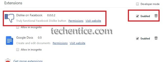 Enable or Disable Facebook Dislike Plugin in Google Chrome