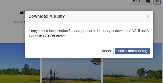 Facebook download album notification