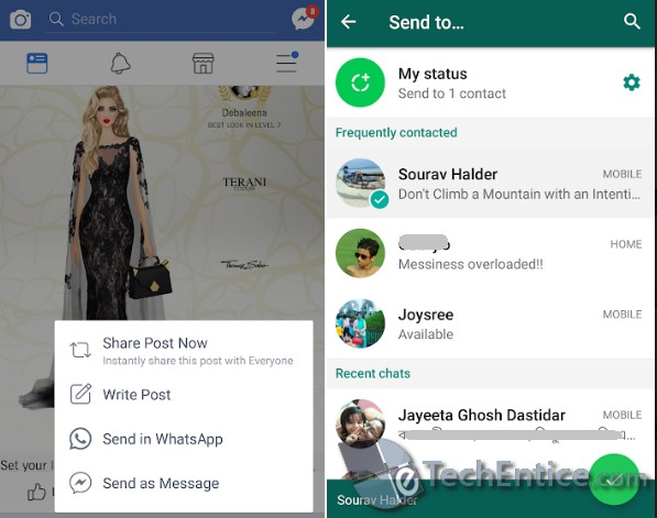 Share Facebook Posts Directly To Your WhatsApp
