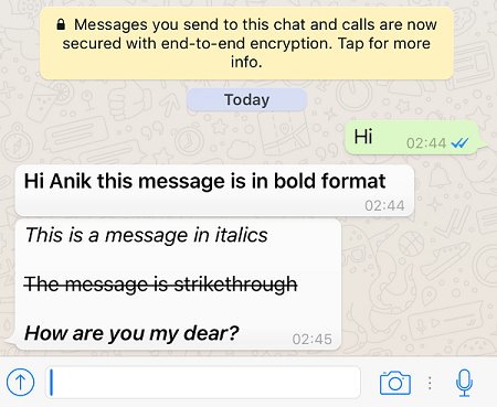 message formatted in iOS