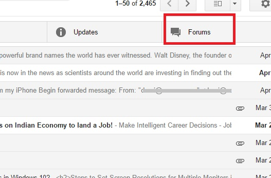 Online Forum Mails in a Separate Tab in Gmail