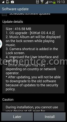 KitKat 4.4.2 is now available for Galaxy Note II GT N7100