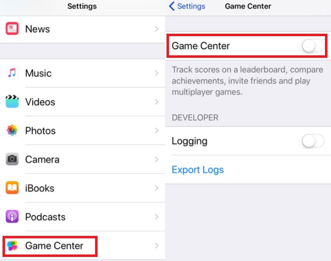 turn off game center