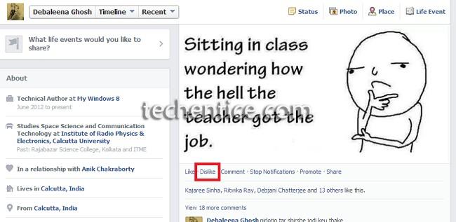 give dislike in facebook