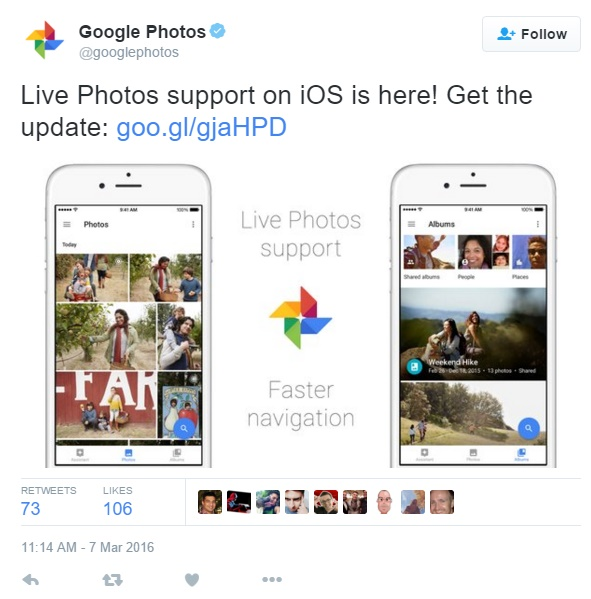 Google Photos now supports Live Photos on iOS