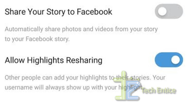 Disable Highlights Resharing On Instagram