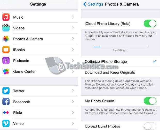 Apple iCloud Photo Library Beta options