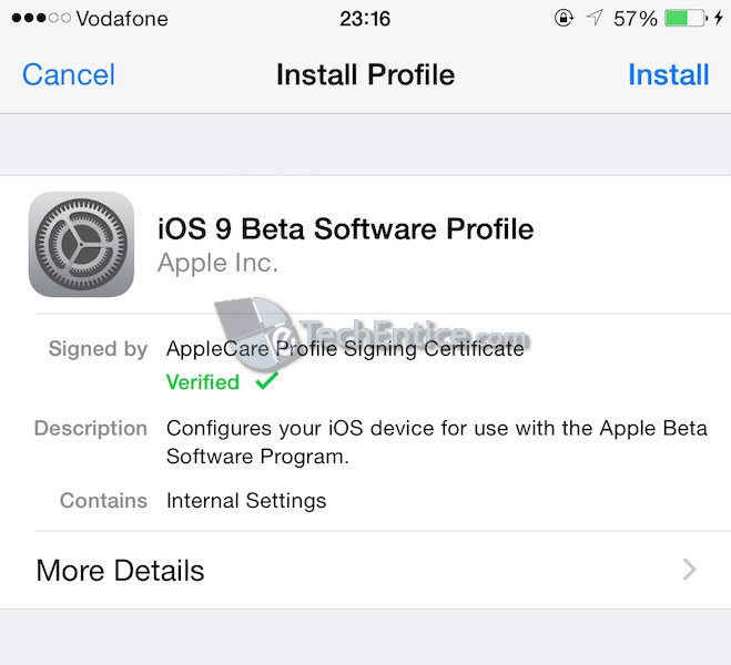 Install iOS 9 Software Profile