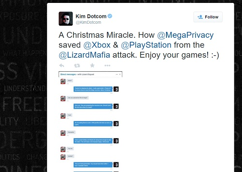 Kim Dotcom resolved the PSN and Xbox Live outages caused by Lizard Squad