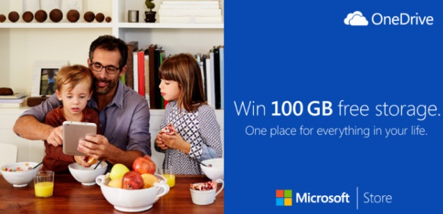 Microsoft to give away 100GB of OneDrive space
