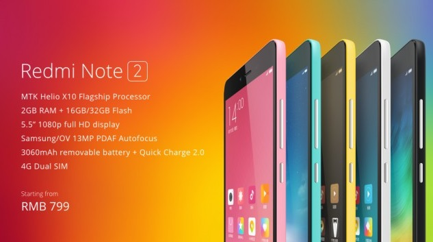 Xiaomi announces Redmi Note 2