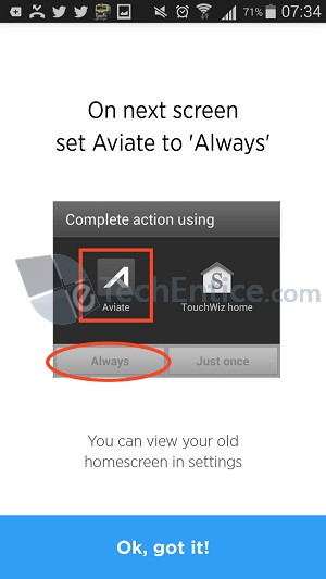 set aviate as default launcher