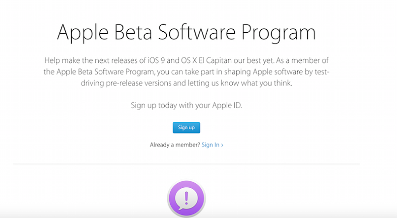 Sign Up for Apple Beta Software Program