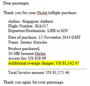 Singapore Airlines passenger incurs $1171.46 in-flight WiFi bill