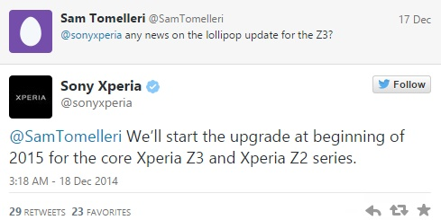 Sony to roll out Android 5.0 Lollipop update for core Xperia Z3 and Z2 by early 2015