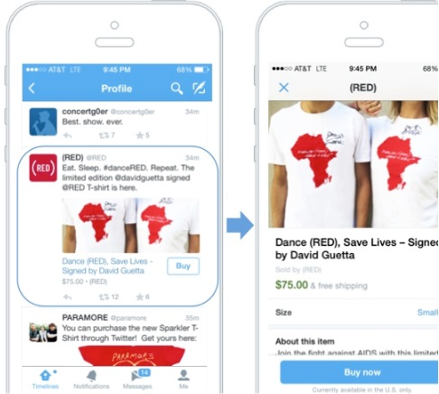Twitter's first commerce product : buy buttons in mobile