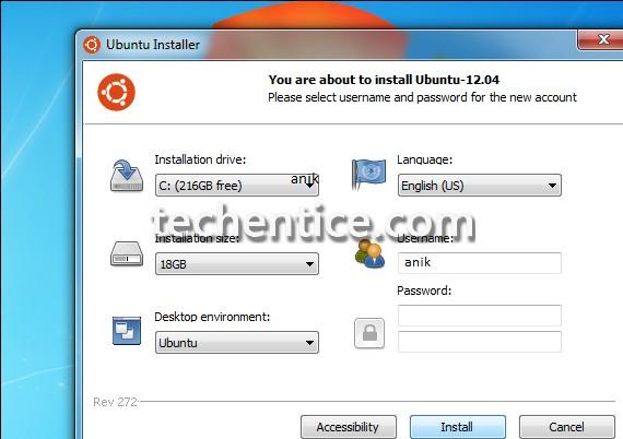 Install Ubuntu via Wubi