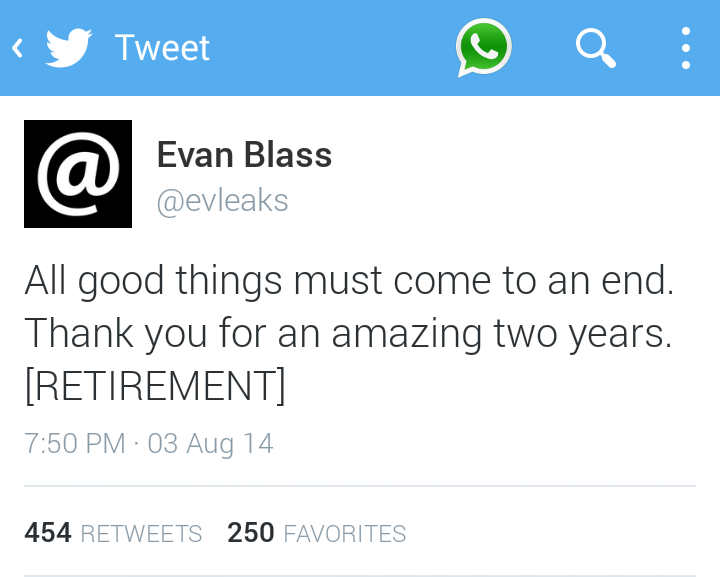 The ultimate leaker @evleaks retires from leaking news