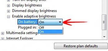 Turn On Adaptive Brightness