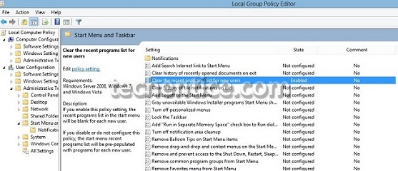 "enable ""Clear the recent programs list for new users"" in Windows 7"