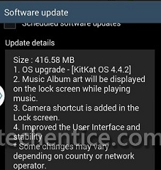 Android 4.4.2 update for Glalaxy Note 2