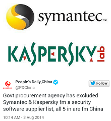 China bans Symantec and Kaspersky from providing software to government