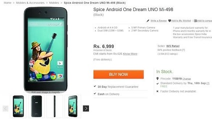 Android One device leaked on Flipkart