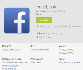 Facebook Android App reached Billion Downloads