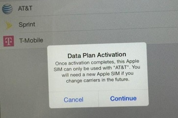 AT&T does not allow you change carrier without changing Apple SIM