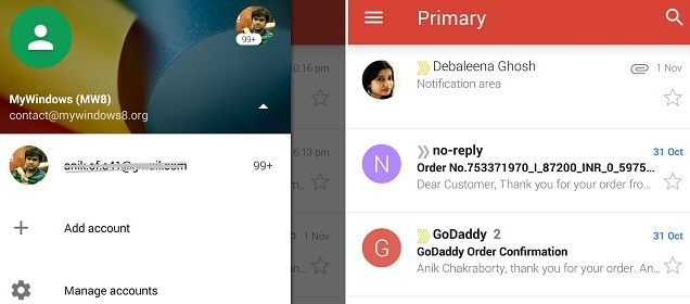 New updated Gmail for Android Lollipop with Material Design