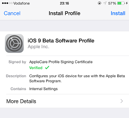 install iOS 9 Public Beta
